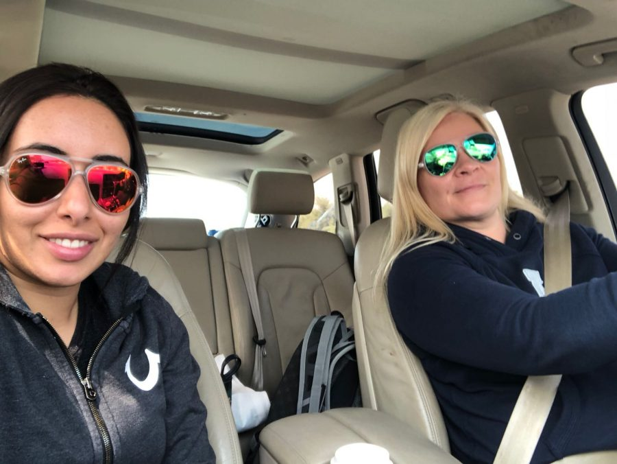 selfie taken by princess latifa of her and friend tiina jauhiainen in a car in oman