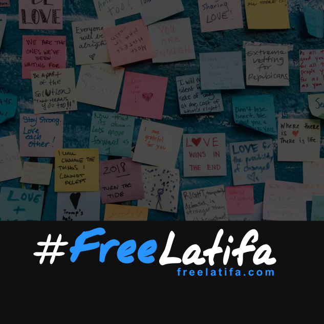 square social media profile image with the #freelatifa logo on a black background at the bottom and a background of post-it note messages from supporters to the top