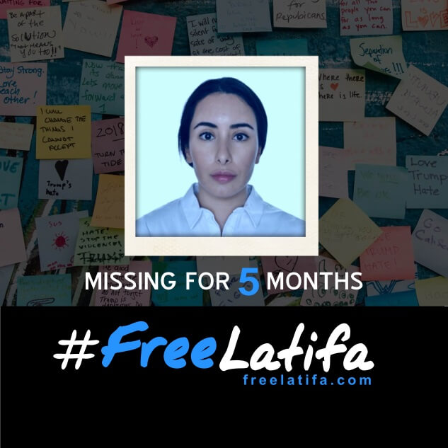 square social media profile image marking 5 months since latifa went missing with the #freelatifa logo on a black background at the bottom and a photos of latifa