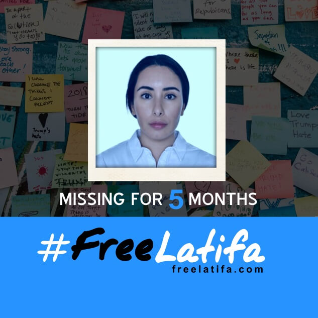 square social media profile image marking 5 months since latifa went missing with the #freelatifa logo on a blue background at the bottom and a photos of latifa