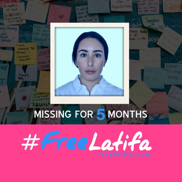 square social media profile image marking 5 months since latifa went missing with the #freelatifa logo on a pink background at the bottom and a photos of latifa