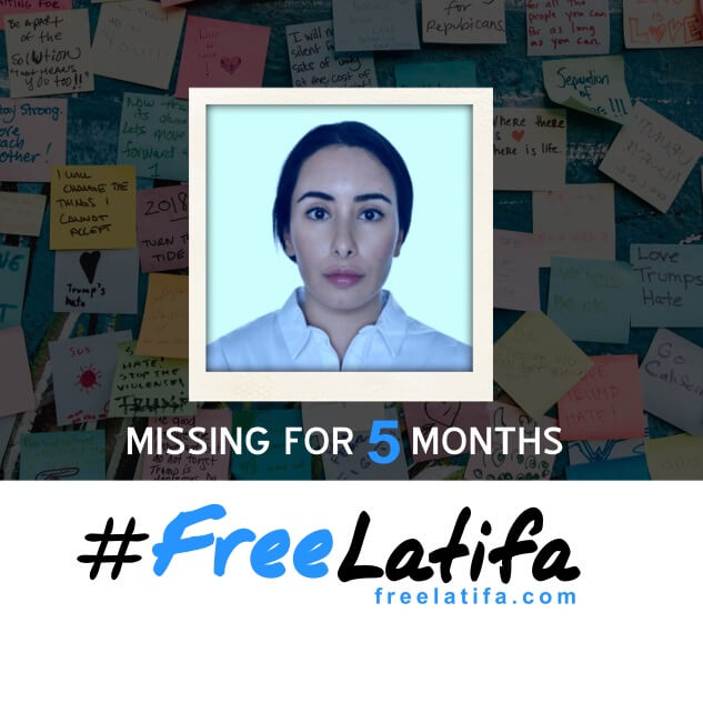 square social media profile image marking 5 months since latifa went missing with the #freelatifa logo on a white background at the bottom and a photos of latifa